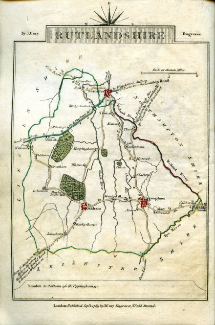 Rutlandshire County Map by John Cary 1790 - Reproduction